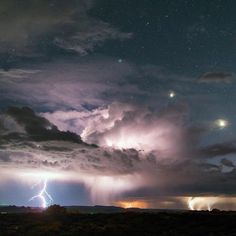 A powerful storm hammers the landscape around Utah's Arches National Park. Astrophotographer David Lane captured this striking shot of multiple lightning strikes. Venus (brightest lower right) and Jupiter (middle) are visible while the blue star Regulus (upper left) is shrouded in a bit of clouds.  Photo by: @archesnps courtesy of David Lane.  via @usinterior 💫