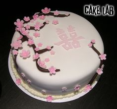 ZacO Cakes: Red & Pink Cherry Blossom Cakes, but wo the double happiness wedding chinese character
