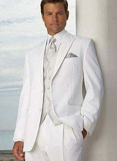 Formal White Single Breasted Button Worsted Groom Wedding Tuxedo - Groom Wear - Wedding