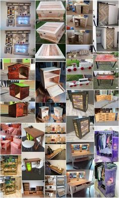 Fantastic Creations Made with Old Wood Pallets: Wood pallet furnishing ideas has surely made a successful place all over the world as in the category of the wood decoration ideas. Old Wood Crafts, Old Wood Projects, Wooden Pallet Projects, Pallet Crafts, Diy Pallet Furniture, Recycled Furniture, Woodworking Projects, Pallet Ideas, Diy Wood