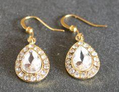 Gold Rhinestone Earrings Long Drop Dangle Crystal by JewelryTarget, £10.00
