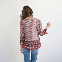 Printed Blouse Red