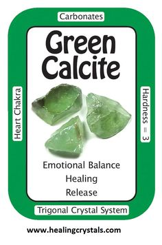 "Crystal Card of the Day: Green Calcite, ""I find pleasure in the simple joys of life."" Green Calcite can be used to assist in the manifestation process. Green Calcite will also bring in the energy of. Chakra Crystals, Crystals And Gemstones, Stones And Crystals, Healing Crystals, Gem Stones, Crystal Grid, Crystal Beads, Green Calcite Meaning, Crystal System"