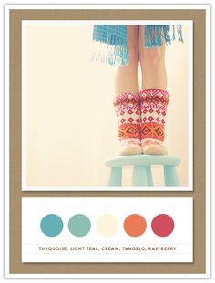 Colour Palette: turquoise, light teal, cream, tangelo, raspberry