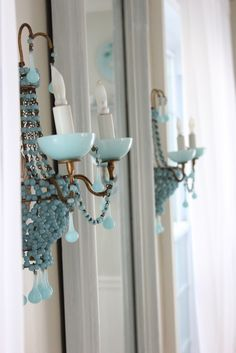 ❥ beautiful blue chandelier sconces~ those beads and the milky blues, so dreamy… Shabby Cottage, Shabby Chic Homes, Cottage Chic, Turquoise Cottage, Haint Blue, Blue Chandelier, Sconce Lighting, Lamp Light, Decoration