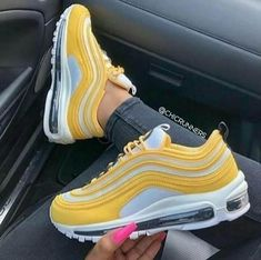 Nike Wmns Air Max 97 yellow - With this bright yellow Nike Air Max 97 for women. Air Max 97, Nike Air Max, Nike Air Shoes, Sneaker Outfits, Sneakers Fashion Outfits, Fashion Shoes, Tenis Nike Air, Zapatillas Nike Air, Nike Wmns