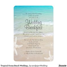Tropical Ocean Beach Wedding Breakfast Invitation