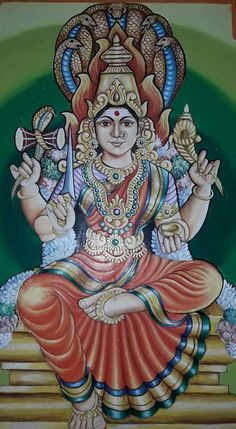 Hindu God Mysore Painting, Tanjore Painting, Saraswati Goddess, Goddess Lakshmi, Indian Gods, Indian Art, Ganesha Drawing, Shiva Parvati Images, Madhubani Art