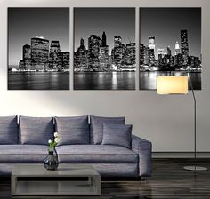 Large Art Print - Panorama Manhattan Night Cityscape, Manhattan Large Wall Art Canvas Print, New York City Wall Art Canvas Print