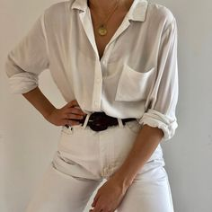 Favorite relaxed rayon white button up. Beautiful feel and perfect drape.