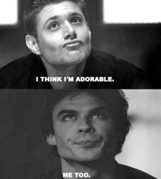 Jensen Ackles (Supernatural) et Ian Somerhalder (The Vampire Diaries) Ian is definitely more adorable Vampire Diaries Memes, Vampire Diaries The Originals, Wallpaper Collage, Jensen Ackles Supernatural, Vampier Diaries, Tv Shows Funny, Wallpaper Aesthetic, Bae, Fandom Crossover