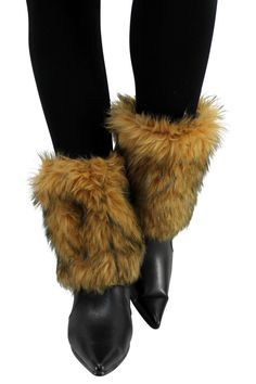 Camel Animal Print Faux Fur Leg Warmer Muff Boot Cover