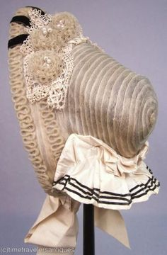 Early 1860s braid bonnet, probably horsehair.