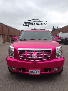 cool Pink Chrome Cadillac Escalade | Vinyl Car Wrap | Car Wraps in Toronto, Montreal, Miami  Passions Check more at http://autoboard.pro/2017/2017/01/07/pink-chrome-cadillac-escalade-vinyl-car-wrap-car-wraps-in-toronto-montreal-miami-passions/