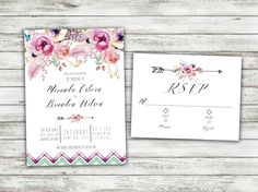Watercolor Floral Wedding Invitations Set Printed, Classy Wedding Invitation, Shabby Chic, Floral, Watercolor Flowers, Arrow, Purple Flower by Level33Graphics on Etsy