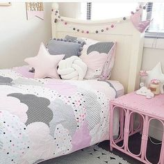This pink, white and grey room is a great colour scheme for a girls bedroom. This pink, white and grey room is a great colour scheme for a girls bedroom. Love the use of the pa
