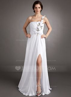 A-Line/Princess One-Shoulder Floor-Length Chiffon Holiday Dress With Ruffle Flower(s) Sequins Split Front (020016349)