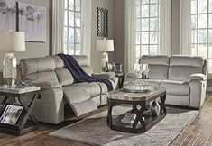 Uhland Contemporary Microfiber Granite Color Power Reclining Sofa And Loveseat With Adjust Headrest