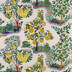 Based on an archival botanical pattern that acclaimed midcentury architect Josef Frank designed for the house in Citrus Garden bears the signature whimsy, color, and personality that his sought-after fabrics are known for. Pattern Texture, Surface Pattern Design, Motifs Textiles, Textile Patterns, Floral Patterns, World Of Interiors, Fabric Wallpaper, Of Wallpaper, Bathroom Wallpaper