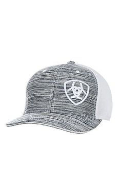 Ariat Heather Grey Embroidered Logo and White Mesh Snap Back Cap | Cavender's