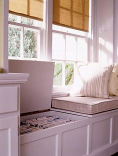 Window seat with built-in file
