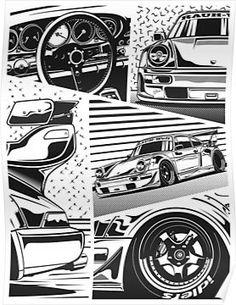 'RWB Fragments' Poster by OlegMarkaryan Fancy Cars, Cool Cars, Cool Car Drawings, Jdm Wallpaper, Volkswagen Polo, Automotive Art, Car Wallpapers, Japanese Cars, Art Cars