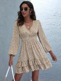 Dress P, Dress Outfits, Wrap Dress, Vestidos Fashion, Fashion Dresses, Latest Dress, Spring Dresses, Cute Dresses, Flowy Dresses