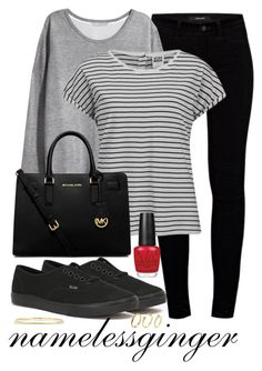 """EC 1"" by namelessginger ❤ liked on Polyvore featuring J Brand, H&M, Vero Moda, Vans, MICHAEL Michael Kors, Ippolita, OPI and Pixie Grey"
