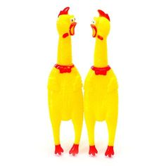 Yellow Plucked Squeaky Rubber Chicken Squeaking Farm Doy Chew Toy Prop Joke Stag