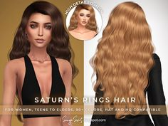 Sims 4 Curly Hair, Sims Hair, Long Curly Hair, Curly Hair Styles, Free Sims 4, Witch Hair, The Sims 4 Cabelos, Pelo Sims, Sims 4 Collections