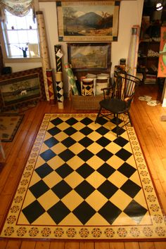 All designs by Lisa Curry Mair of Canvasworks Designs in Perkinsville, VT. Painted Floor Cloths, Painted Wood Floors, Stenciled Floor, Painted Rug, Painted Furniture, Plywood Floors, Concrete Furniture, Concrete Lamp, Kid Furniture