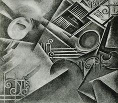Guilherme de Santa-Rita (1889-1918) – Perspetiva dinâmica de um quarto ao acordar (1912) huile sur toile, reproduite dans la revue Portugal Futurista (1917) Détruite après sa mort par la famille de l'artiste, à sa demande.