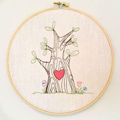 embroidery hoop wall art | Heartwood Happy Tree embroidery hoop wall art by knottybirdthreads, $ ...