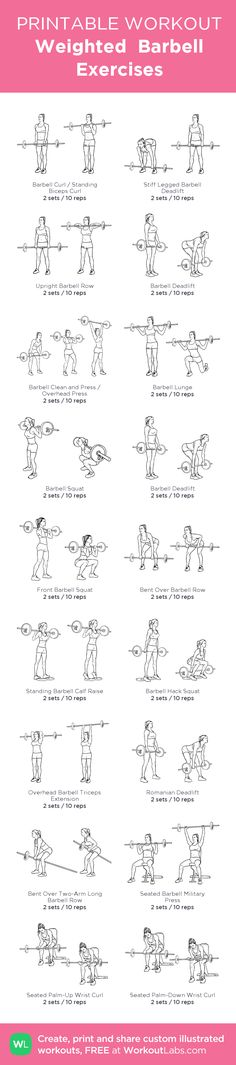 Weighted Barbell Exercises: Printable #customworkout