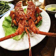 Delicious dinner. He has swam in a fish tank a minute ago.         Tomu rikam vecere . Jeste pred minutou plaval.                 #lobster #langusta #seafood #dinner #mydinner #vietnam #vietnamiesefood #cuisine #visitvietnam #finedining #experience #instafoodie @gotovietnam #gotovietnam