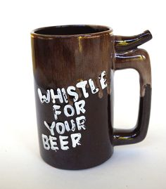 Wet Your Whistle Whistle for Your Beer Vintage Whistling Ceramic Novely Beer Mug with Drip Glaze by retrowarehouse on Etsy