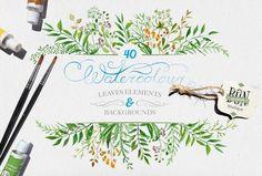 Watercolor leaves set by BON-design on Creative Market