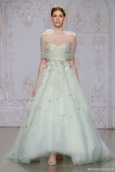 monique lhuillier bridal fall 2015 estee pistachio strapless sweetheart tulle ball gown floral embellishments tulle wrap