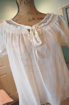 Ivory Peasant Top Womens Shabby Chic Clothing by OfLinenandLace, $32.50