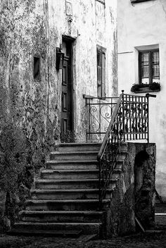 Old staircase black and white fine art street photography in medieval city #Glorenza #Glurns #Italy by Visionitaliane, $25.00