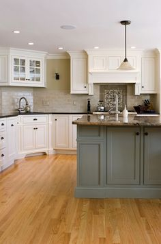 MF Classic Interior, teal island but with dark wood cabinets, not white