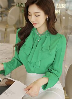 [Luis Angel] Jewelry Rich ruffle blouse, style Tami