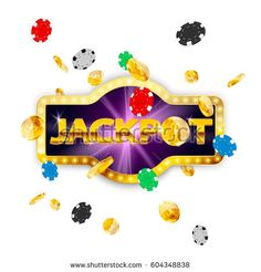 Retro signboard jackpot. Falling coins and poker chips. Vector illustration