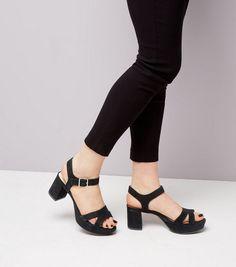 Chaussures à talons plateformes en suédine noire pour ados   New Look