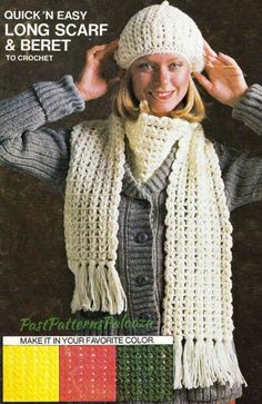 6d40bc68442 Vintage Crochet Pattern Womens Classic Simple Long Scarf and Beret Set PDF  Shell Stitch Chains Instant Digital Download 8 10 Ply