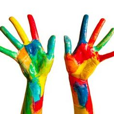 Photo about Painted hands, colorful fun. Creative, funny and artistic means happy! Isolated on white. Image of paint, cheerful, colorful - 30200991 Image Painting, Renaissance Paintings, Technology Logo, Custom Shirts, Hilarious, Logo Design, Hacks, Concept, Creative