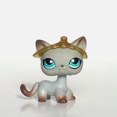 Littlest Pet Shop Short Hair Cat Gray Egyptian 391 Around the World EUC Tiara #Hasbro