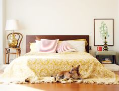 love that mustard yellow throw...looks surprisingly lovely with the red striped pillows. i want i want i want!