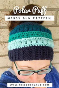 Messy Bun Hat Free Crochet Pattern - The Polar Puff Messy Bun Hat  #freecrochetpattern #messybunhat #ponytailhat #crochethat #crochetbeanie #polarpuffmessybun #theloopylamb #crochetpatternsfree