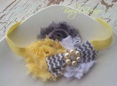 Yellow and gray chevron headband